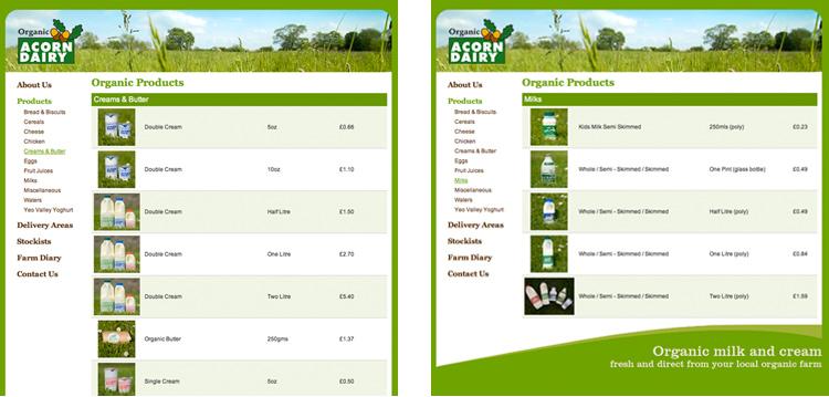 acorn dairy website